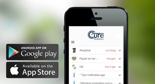 Screenshot: Cure app on mobile. Available in Google Play Store and App store